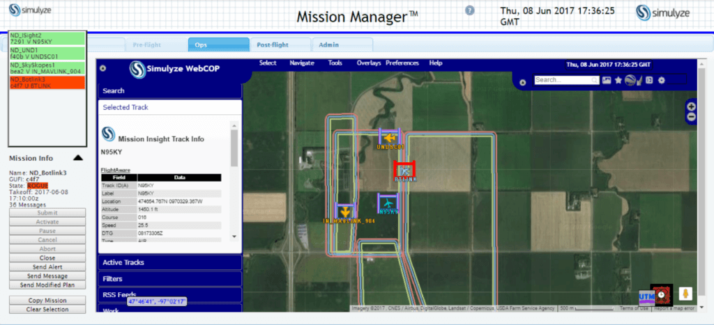 NASA Technical Capability Level 2 National Campaign, Northern Plains UAS Test Site, June 8, 2017: Screenshot from Simulyze's Mission Insight application shows four aircraft flying in close proximity, including beyond visual line-of-sight operations; one UAS is shown departing its approved flight volume shown operating outside of their respective flight volumes, and notification is sent to the violating operator as well to other operators in the area.