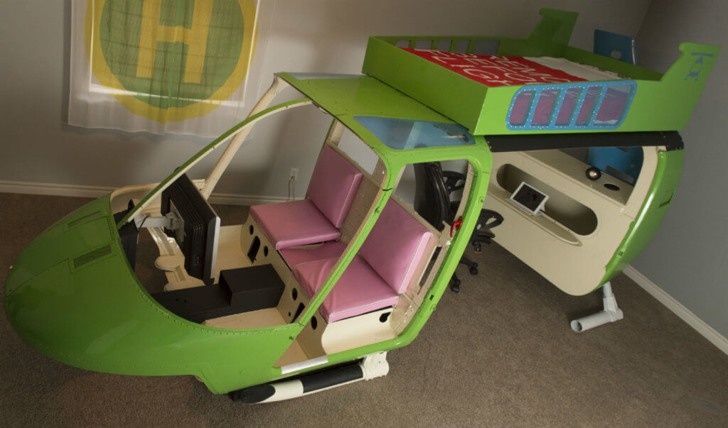 Craviations' cool bunkbed is made out of a Bell helicopter. The idea was born around the same time as the Rancourt's first grandchild.