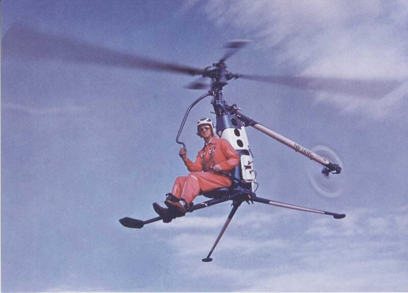 The Hiller Rotorcycle pre-production prototype in flight. Here, it is flown by Hiller's chief pilot, Richard Peck. Hiller/Jeff Evans Collection Photo