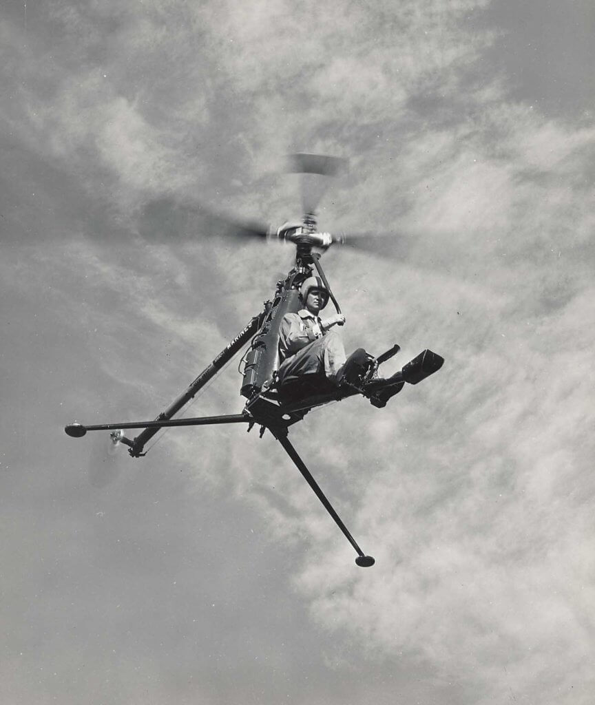 The Hiller Rotormatic Control System on the Rotorcycle helped to make the compact helicopter very stable to fly. Hiller/Jeff Evans Collection Photo