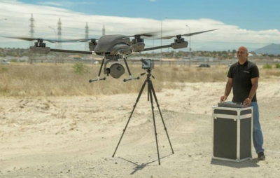 Airborne Drones' Vanguard 35-kilometer long range surveillance drone ready to take flight. Airborne Drones Photo