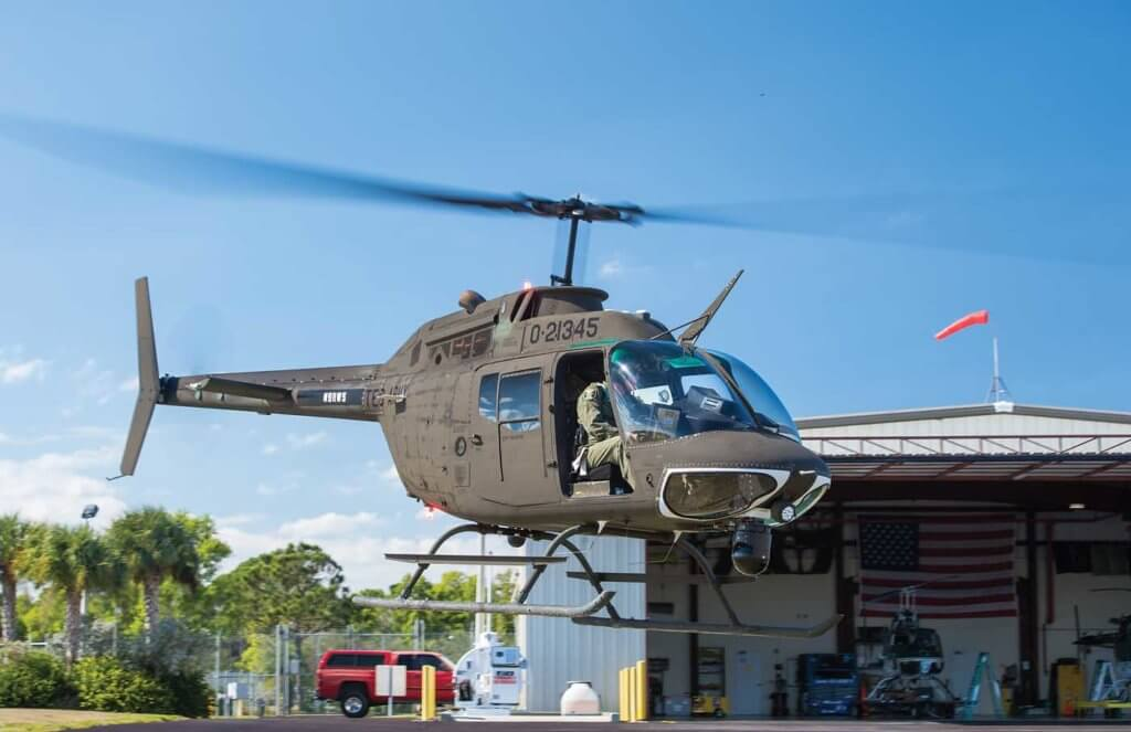 This surplus aircraft was acquired in November 2014 immediately following the official OH-58 retirement ceremony held in Jacksonville. It was flown to the MCSO facility, stripped down and completely rebuilt in-house with overhauled parts. An outside vendor provided the avionics completion and another will be sourced for new paint.