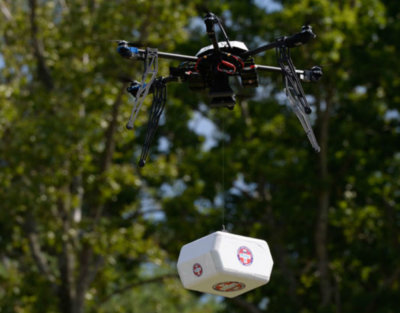 On July 17, 2015, in collaboration with NASA, Flirtey conducted the first-ever FAA-approved drone delivery when it delivered multiple packages of urgent prescription medication to the Remote Area Medical health clinic in Wise, Virginia. Flirtey Photo