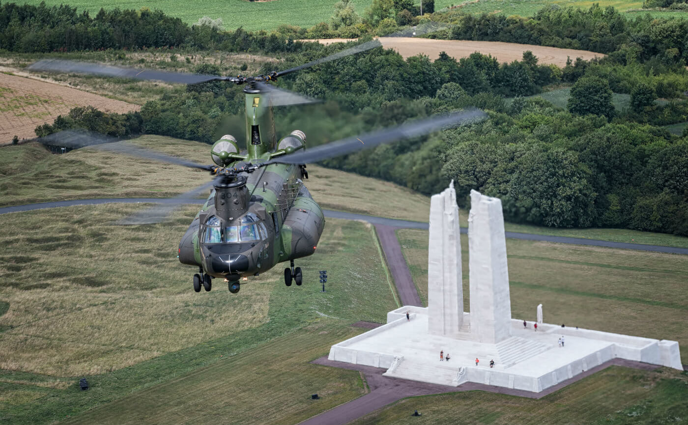 An RCAF CH-147F Chinook from 450 Tactical Helicopter Squadron flies over the Canadian National Vimy Memorial in France on July 21. Lloyd Horgan Photo