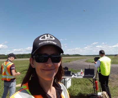 Jocelyne Bois, Microdrones' flight operations manager; Microdrones' research and development engineer Jeremy Jung; and Microdrones' UAV pilot Yannick Savey completed the successful flights with a variety of payloads attached to an md4-1000 unmanned aerial vehicle, one of the few aircraft included on Transport Canada's exclusive list of Compliant Unmanned Air Vehicles. Microdrones Photo
