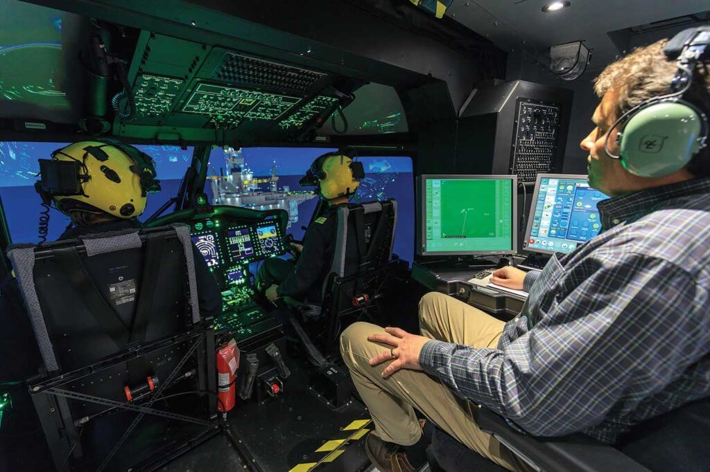 CAE's Level D S-92 full-flight simulator in Mount Pearl, Newfoundland, allows search-and-rescue crews to practice operations in the exact conditions and environment in which they operate the real aircraft. Heath Moffatt Photo
