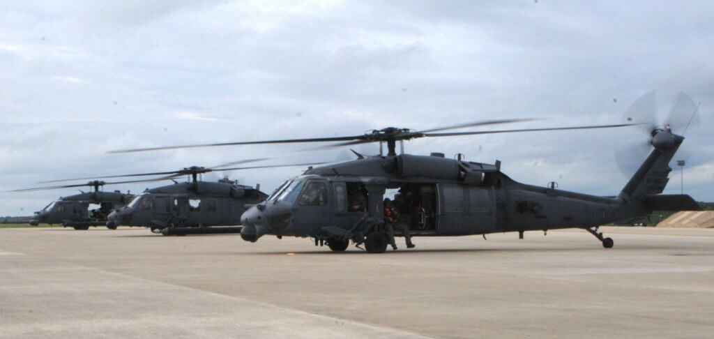 Three HH-60 Pave Hawk helicopters carrying pararescuemen prepare to depart from Fort Hood, Texas, on Aug. 28, 2017. The crews are headed to Houston where they will conduct search-and-rescue missions after Hurricane Harvey caused massive flooding. Air National Guard/Daniel H. Farrell Photo