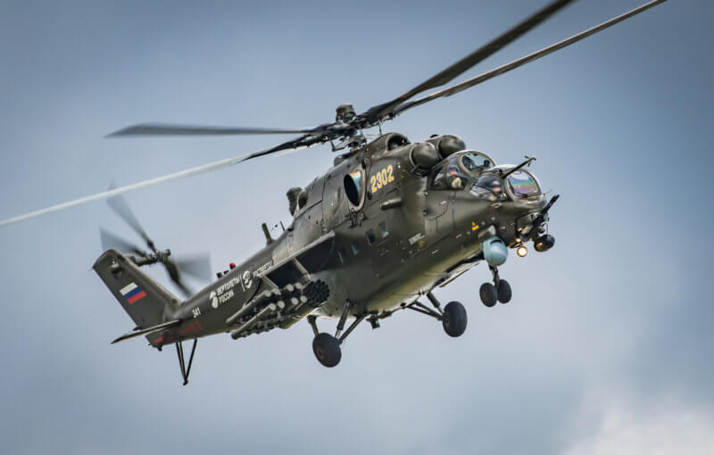 The Mi-35M is a modernized version of the Mi-24V combat helicopter. In addition to its attack capabilities, the aircraft can carry up to eight troops in its cabin.