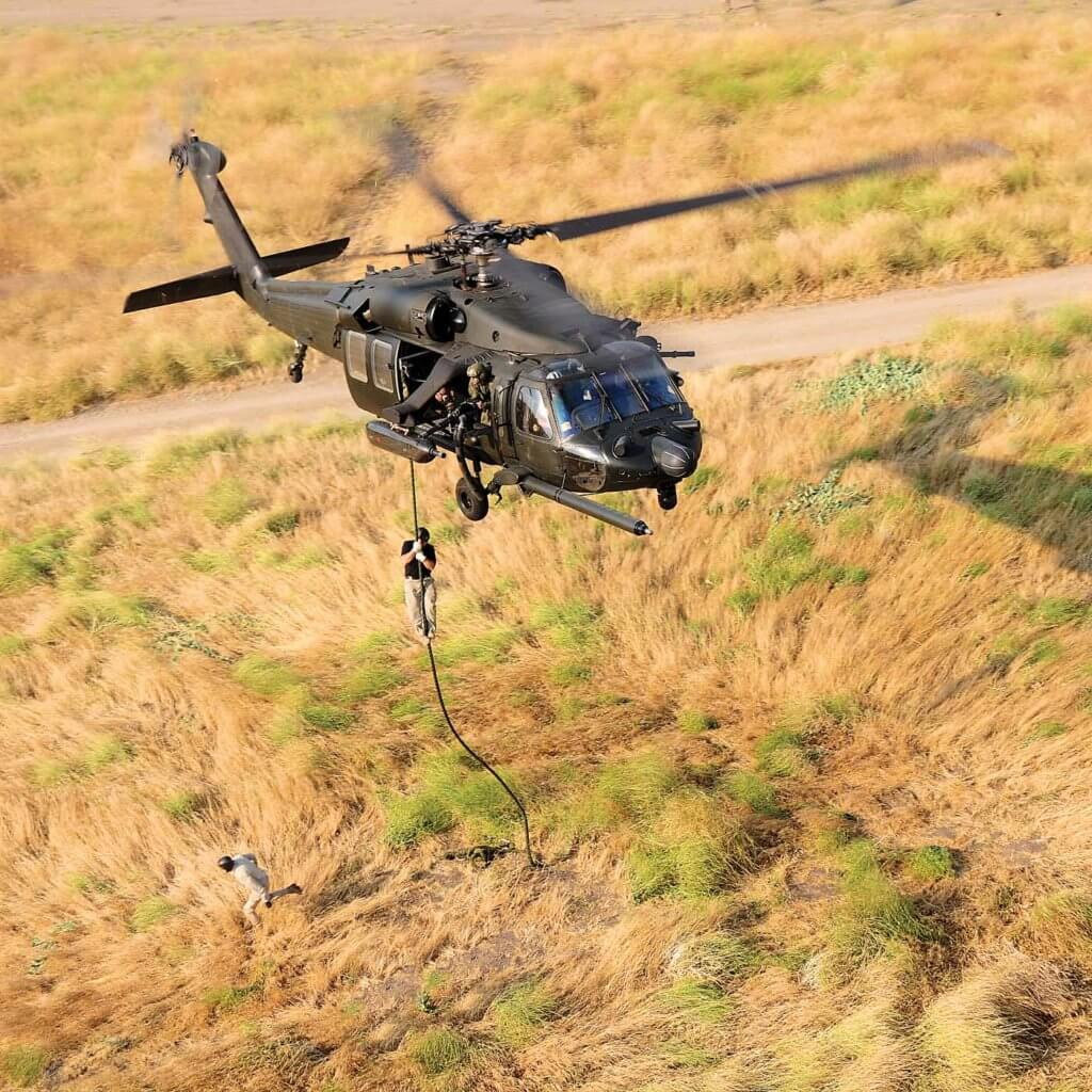 As the aircraft replicates a special operations MH-60M, it carries a fast-rope insertion and extraction system.