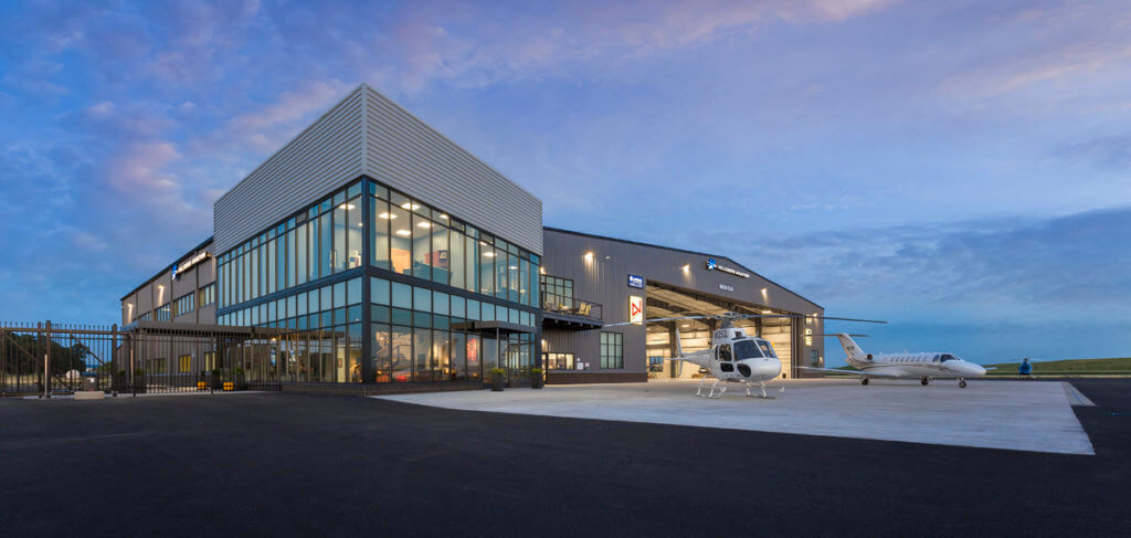 Hillsboro Aviation's award-winning hangar is located at the Portland-Hillsboro Airport in Oregon. Hillsboro Aviation Photo