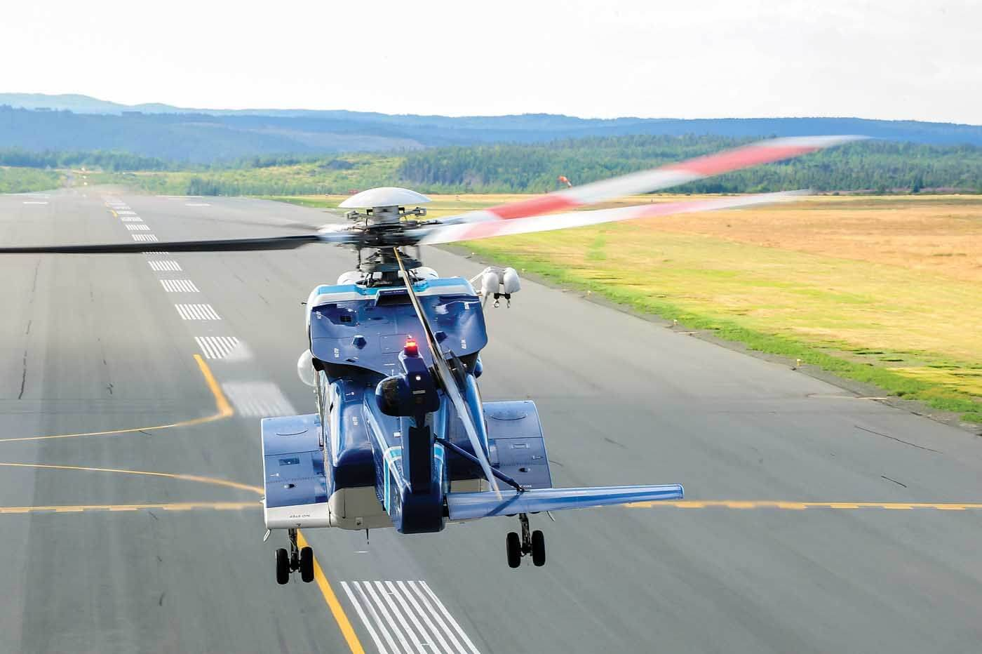 A Cougar Helicopters Sikorsky S-92, specially equipped for search-and-rescue operations, takes off from St. John's International Airport in Newfoundland. Mike Reyno Photo