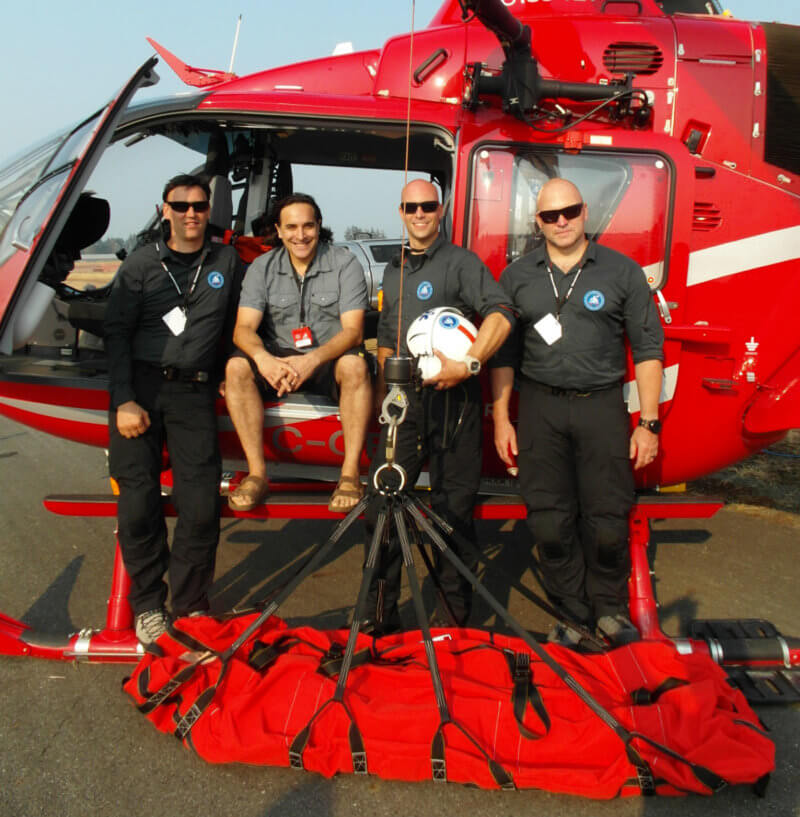 From left: Jordan Lawrence, Dr. Greg Haljan, Paul Windsor and Miles Randell were at the 2017 Abbotsford International Airshow to promote TEAAM, a new helicopter emergency medical service that will be based in Squamish, British Columbia. In collaboration with Blackcomb Helicopters, the organization aims to deliver advanced medical care to patients in remote sites that are beyond the mandate of the province's current air medical providers. Lisa Gordon Photo