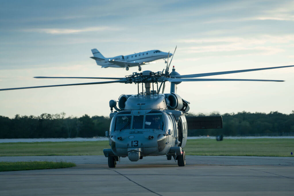 An MH-60S Sea Hawk helicopter attached to Helicopter Sea Combat Squadron (HSC) 7 returns to Easterwood Airport in College Station, Texas after a search and rescue mission over the areas affected by Hurricane Harvey. U.S. Navy MC1 Christopher Lindahl Photo
