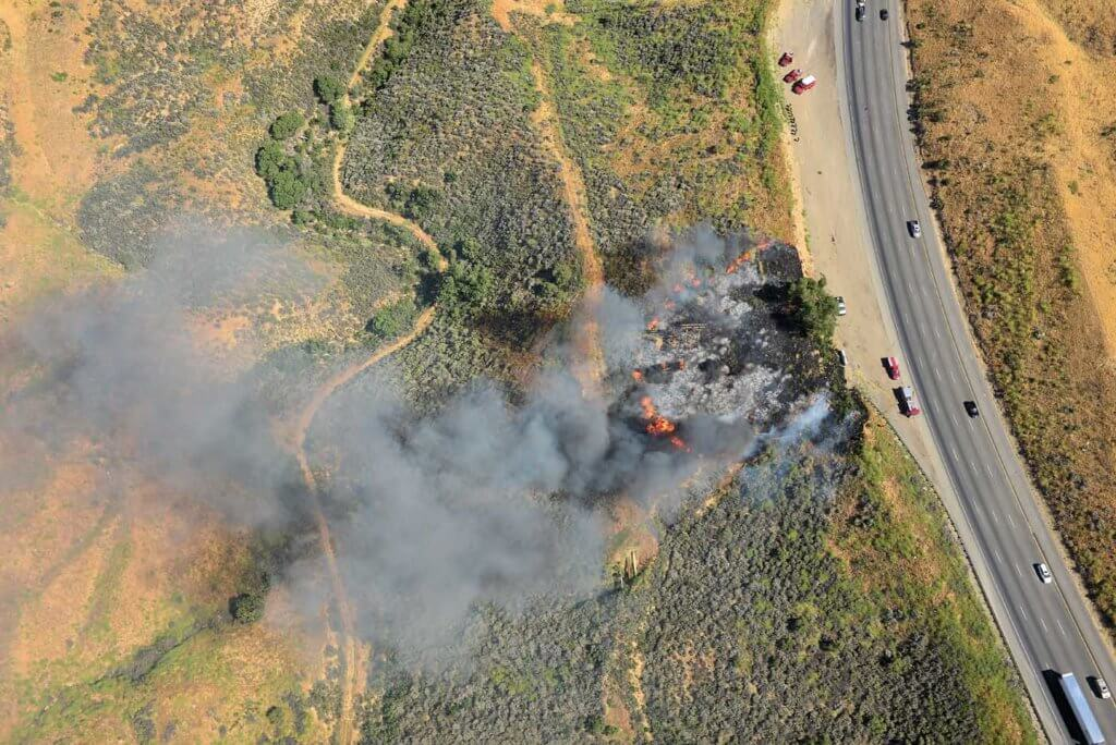 Aerial view of fire.