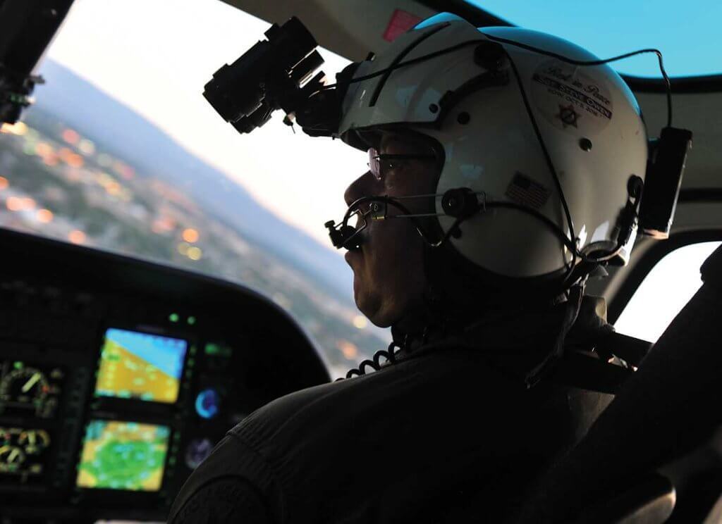 Sgt. Morrie Zager pilots Air 29 on an early Saturday evening.
