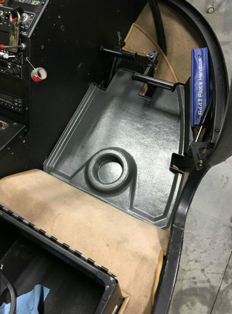The R44 cabin floor trays have been designed with a deep tray to trap liquid and dirt to protect flooring and carpet. The kit is very easy to install and remove for regular cleaning. RAMM Photo