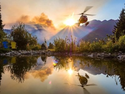 One of the many helicopters that was used to fight B.C. wildfires near Rogers Pass. Photo submitted by Instagram user @muriversum using hashtag #verticalmag