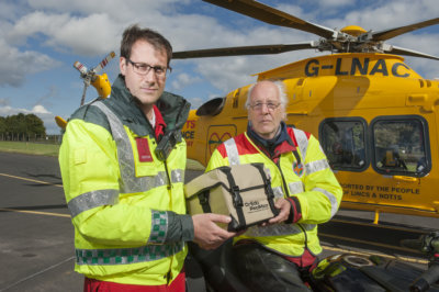 Blood is carried by the Ambucopter in specially designed thermostatically controlled boxes, together with a machine to warm it to the correct temperature. Lincs & Notts Air Ambulance Photo