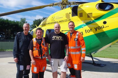Kieron Reeson (third from left) with the Wiltshire Air Ambulance Crew who attended him: pilot George Lawrence and paramedics Fred Thompson and Richard Miller. Wiltshire Air Ambulance Photo
