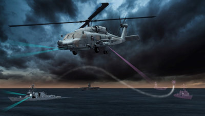 Lockheed Martin's Advanced Off-Board Electronic Warfare (AOEW) Active Mission Payload (AMP) AN/ALQ-248 system, a pod hosted on an MH-60R or MH-60S, will enhance the way the U.S. Navy detects and responds to anti-ship missile threats. Lockheed Martin Image