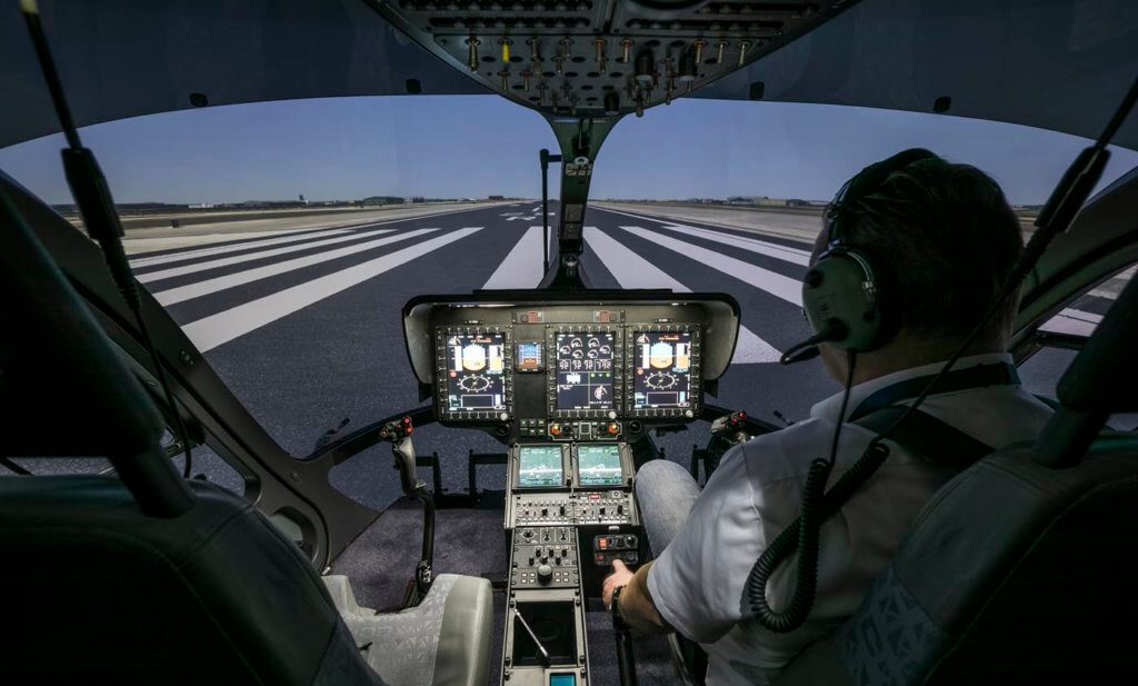 The H145 simulator can be used for initial training and refresher courses, specific instruction on emergency procedures, flights according to instrument flight rules (IFR), in offshore conditions and at night (with night vision goggles), as well as for Cat. A operations. Airbus Helicopters Photo