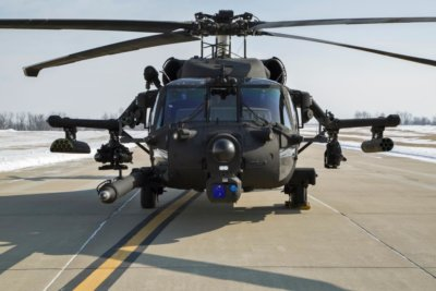 Nose-on view of Black Hawk Helicotper