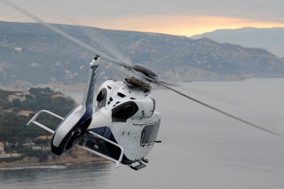 Airbus Helicopters' H160 prototype in the air for flight testing.