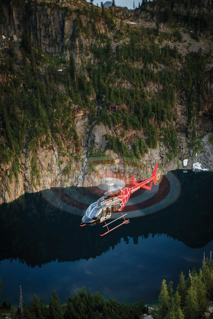 "The LongRanger's livery celebrates Canada's 150th anniversary. Sky Helicopters had to seek the Canadian government's approval to use the ""Canada 150"" brand on the aircraft, but received it without hesitation. Heath Moffatt Photo"