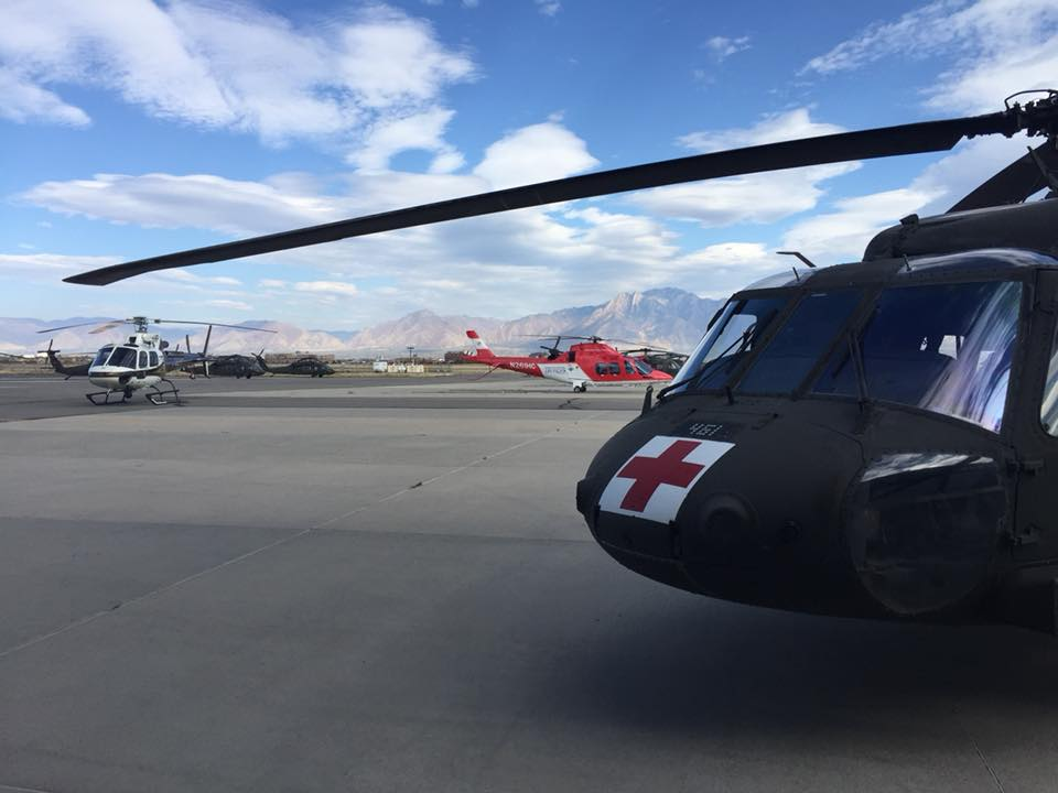 Helicopters from the Utah National Guard, Utah Highway Patrol and Intermountain Life Flight worked together to save a hiker's life in Utah on Oct. 18. Summit County Sheriff Photo