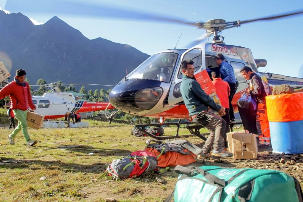 Lukla is the jumping-off point for most Everest climbing and trekking, and when the weather is good, its airport is a hub of activity. With no access by motorized ground vehicles, helicopters play a critical role in transporting cargo as well as people. Elan Head Photo