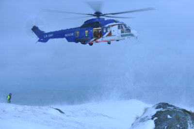 A Norwegian-registered Airbus H225, operated by Bristow, completes a rescue in challenging conditions. Airbus Photo
