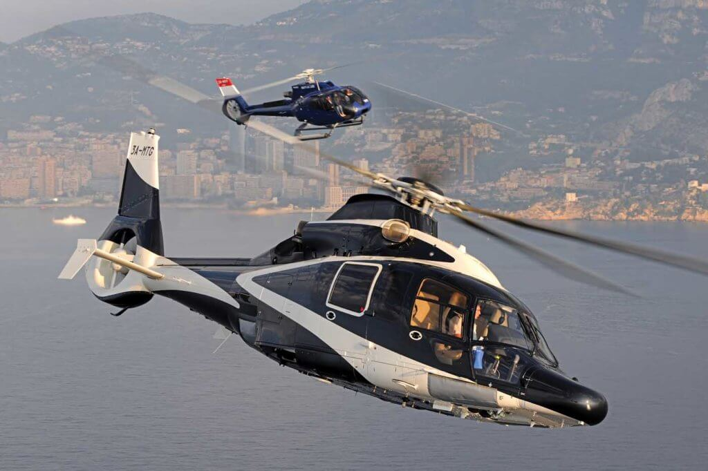 These VIP Airbus EC155 and Airbus EC130 flying off the French Riviera both feature a shielded fenestrom tail rotor. Anthony Pecchi Photo