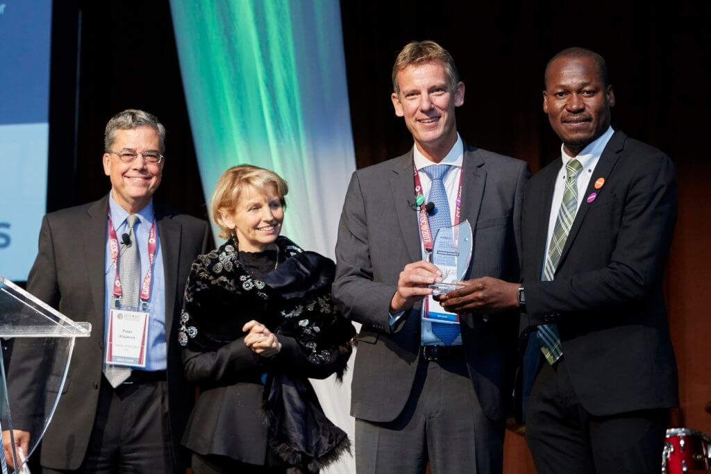 From right to left: Taiwo Tejumola; Jean-Brice Dumont; Marie Paule Roudil, director of the UNESCO Liaison Office, New York; and Peter Kilpatrick.