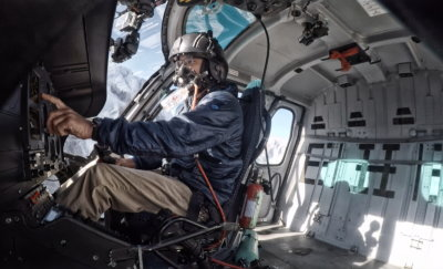 High-altitude flights require pilots to use supplemental oxygen. Here, pilot Ryan Skorecki is seen en route to Everest Camp 2, elevation 21,000 feet (6,400 meters). Photo courtesy of Ryan Skorecki