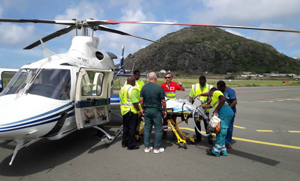 National Helicopters performed over 60 patients transports in the Dutch Caribbean in the days following Hurricane Irma using its Bell 430 and MBB Bo.105. Jan Fraessdorf Photo