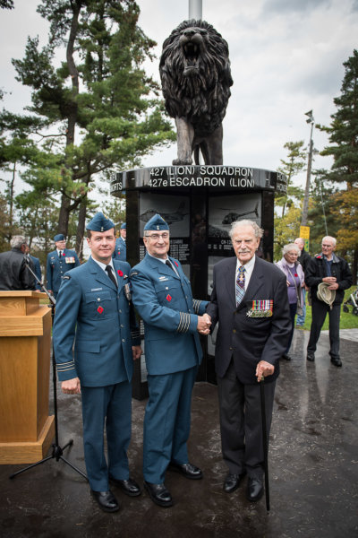 Largely championed by the Royal Canadian Air Force Association Trust and 427 SOAS Honorary Col Delbert Lippert, the cenotaph is a milestone in the Squadron's history, being the first dedication of its kind to honor the sacrifices and storied past of 427 Squadron