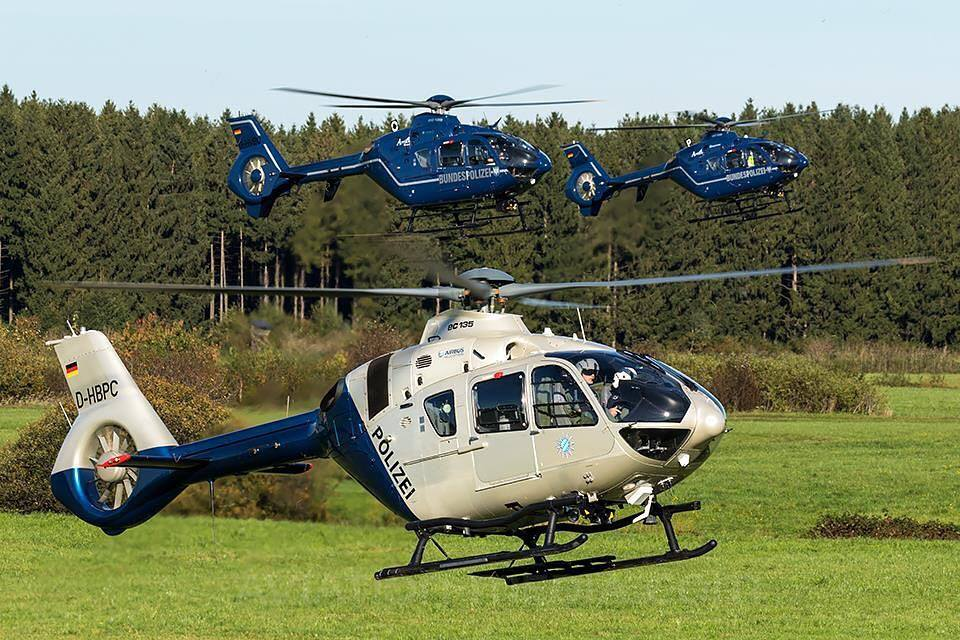 An Airbus EC135 hovers with two accomplices in Germany. Photo submitted by Instagram user @ec145t1 using #verticalmag