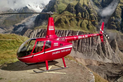 Prabhu Helicopter uses its fleet, including the R66, to operate helicopter services such as helicopter scenic tours, aerial photography, corporate tours and search-and-rescue services. Prabhu Helicopter Photo