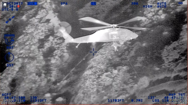 Luke Bowman of the Utah Highway Patrol filmed the rescue using his helicopter's forward-looking infrared camera. UHP Image