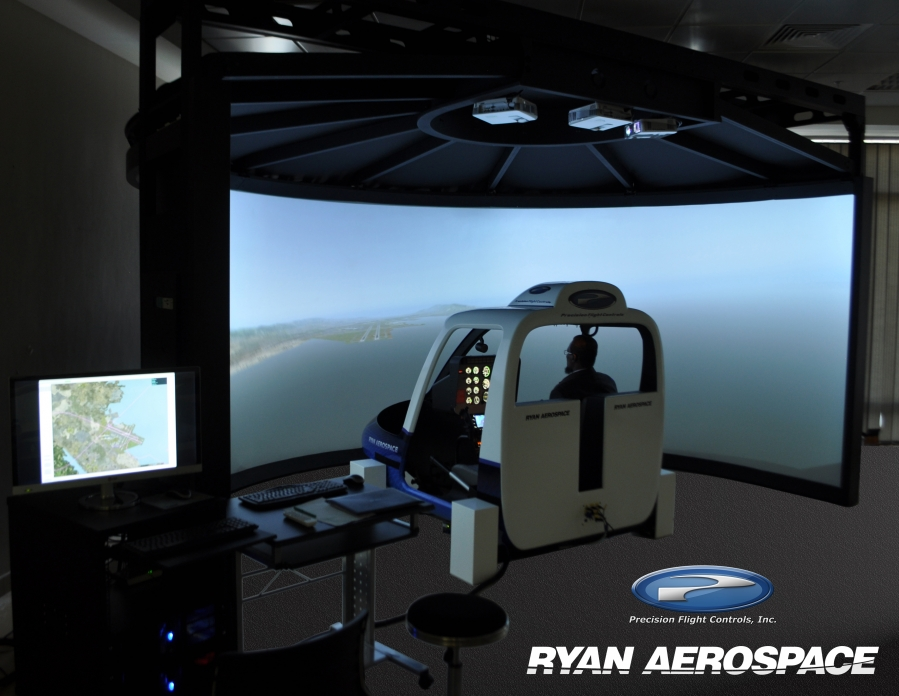 The helicopter simulator also provides many settings for the visual system, and options for avionics and motion/vibration system. Ryan Aerospace Photo