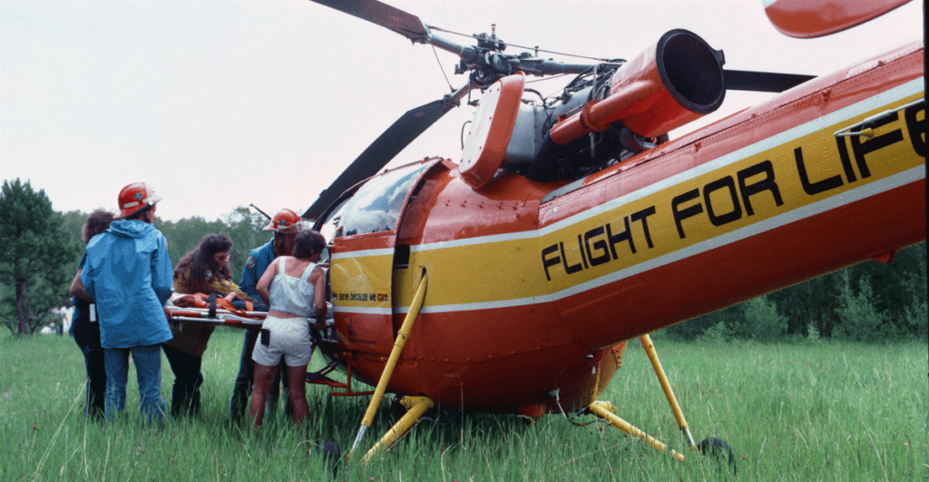 A mid-1980s scene flight with a Flight For Life Alouette III
