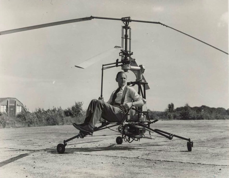 The Hoppi-Copter pictured in England in 1948. Note the upgraded main rotor blades. Jeff Evans Collection Photo