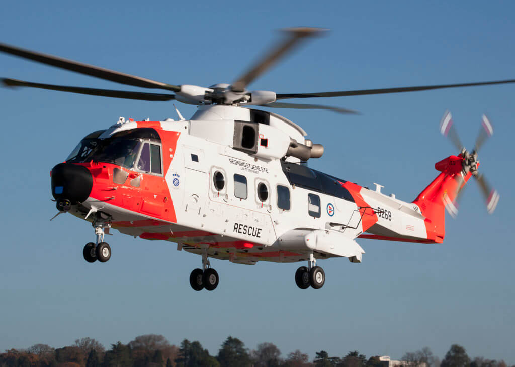 The Leonardo AW101 was delivered a week ago, and was still a month away from its official delivery ceremony. Leonardo Photo