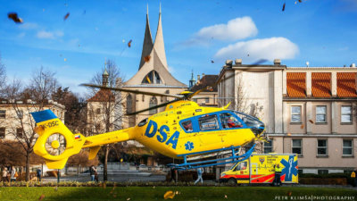 A DSA EC135 T2 lifts from the ground. Photo submitted by Martin Klimša Photography