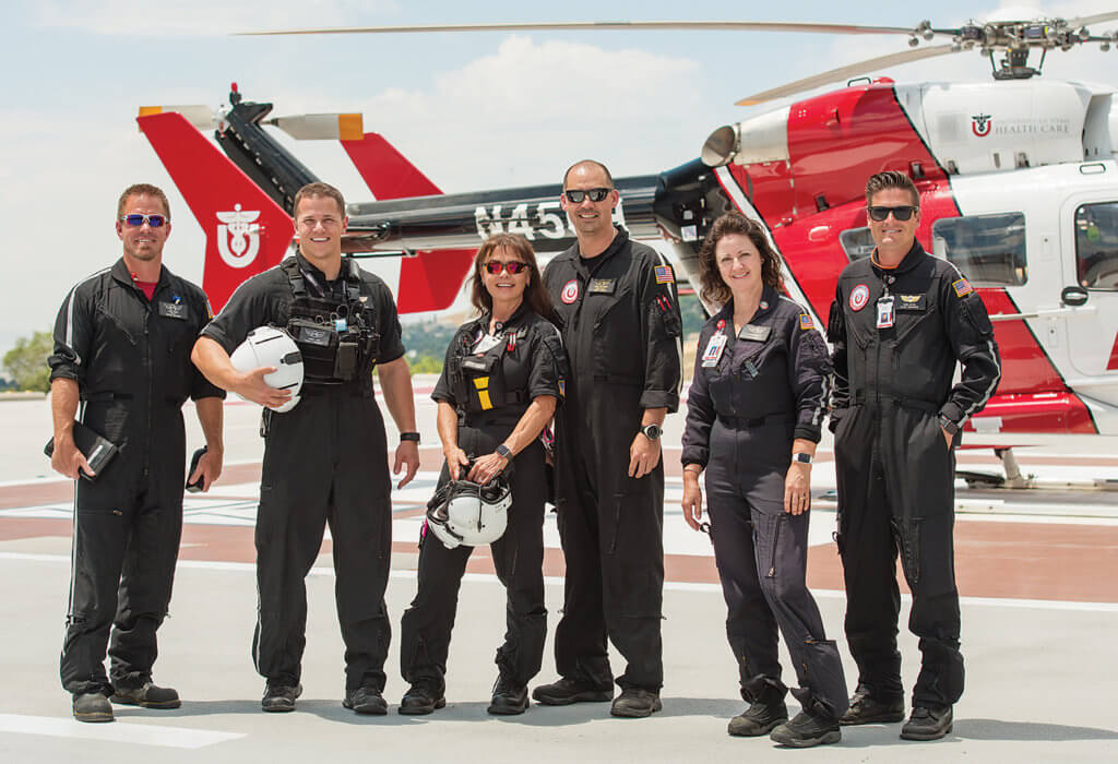 From left, pilot Jake Bass, flight paramedic Jesse Lang, flight nurse Judy Maas, pilot John Matthews, flight nurse Lisa Brasher, and flight paramedic Wade Spivey. Dan Megna Photo