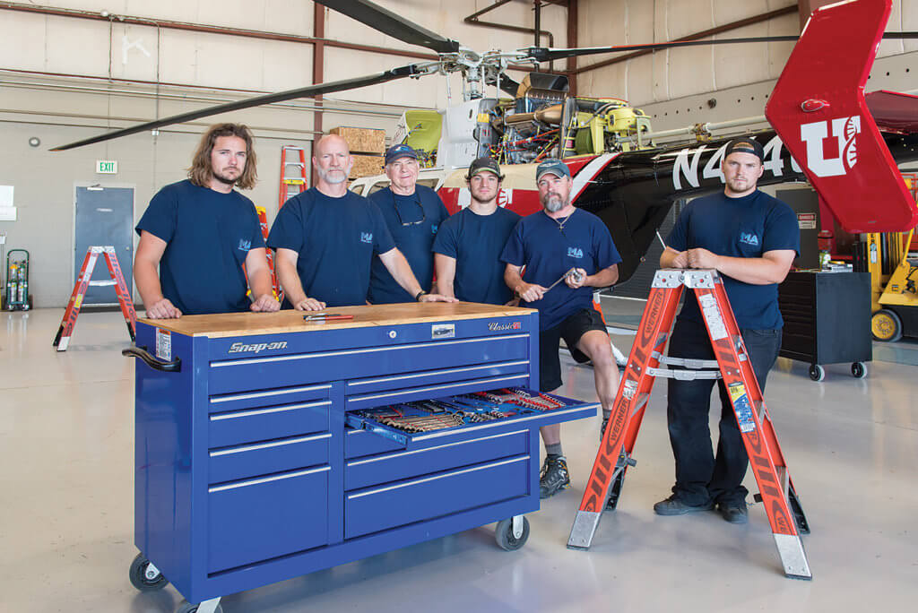 From left, maintenance technicians Brandon Jensen, Eric Unck, Ron Webster, Mat Mits, Clay Alison, and Trevor Ransdell. Dan Megna Photo