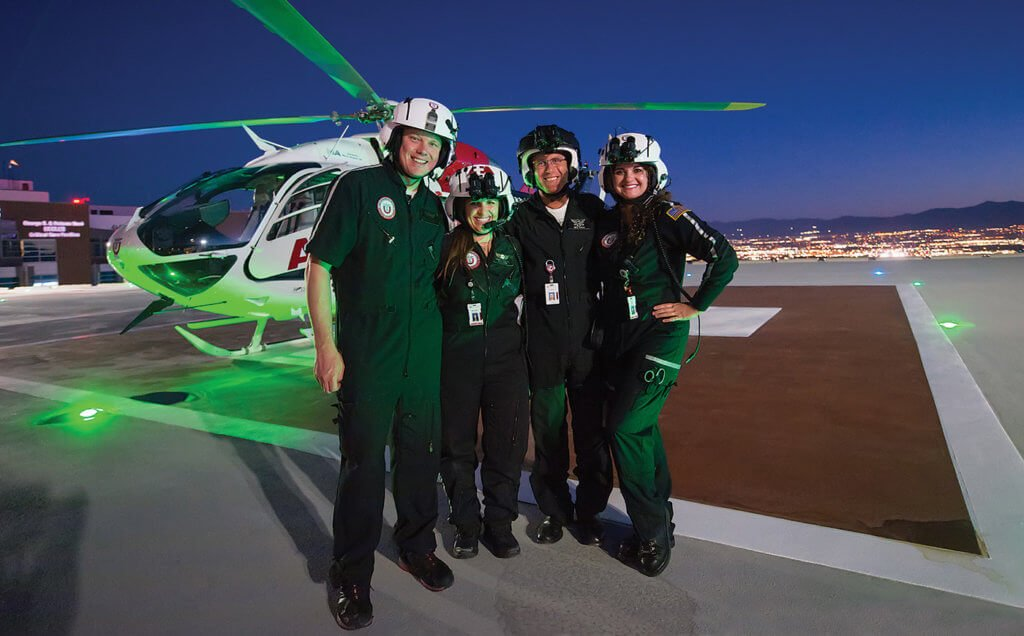 From left, a light moment with flight respiratory therapist, Cory Thompson, flight nurse Melanie Thelin, pilot Chris Mackle and flight nurse Windi Bray. Dan Megna Photo