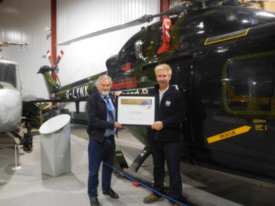 The award was presented to the museum's founder, Elfan Ap Rees, in front of the world speed record holder G-LYNX by U.K. representative of the FAI, David Monks. The Helicopter Museum Photo