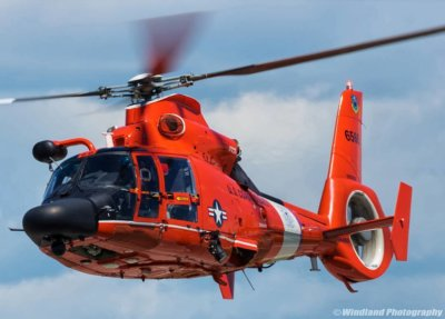 A U.S. Coast Guard Dolphin helicopter puts on a display at the Duluth Air Show. Photo submitted by Instagram user @windlandphotography using hashtag #verticalmag