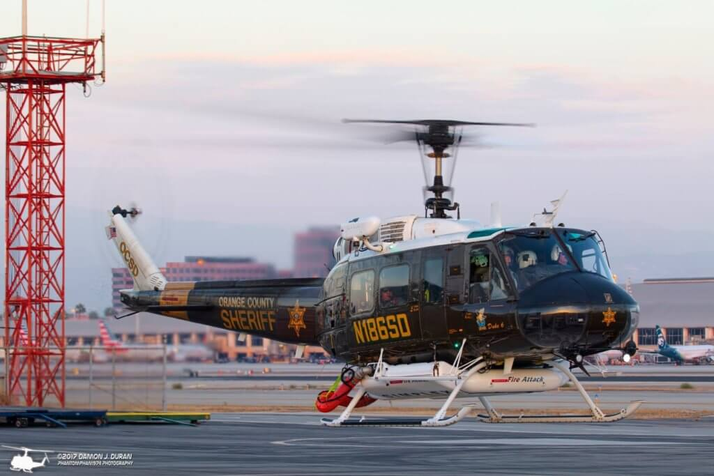 """Orange County Sheriff Department """"Duke 6"""" UH-1H returns Saturday evening from forward deployment to John Wayne Airport. Photo submitted by Damon Duran"""